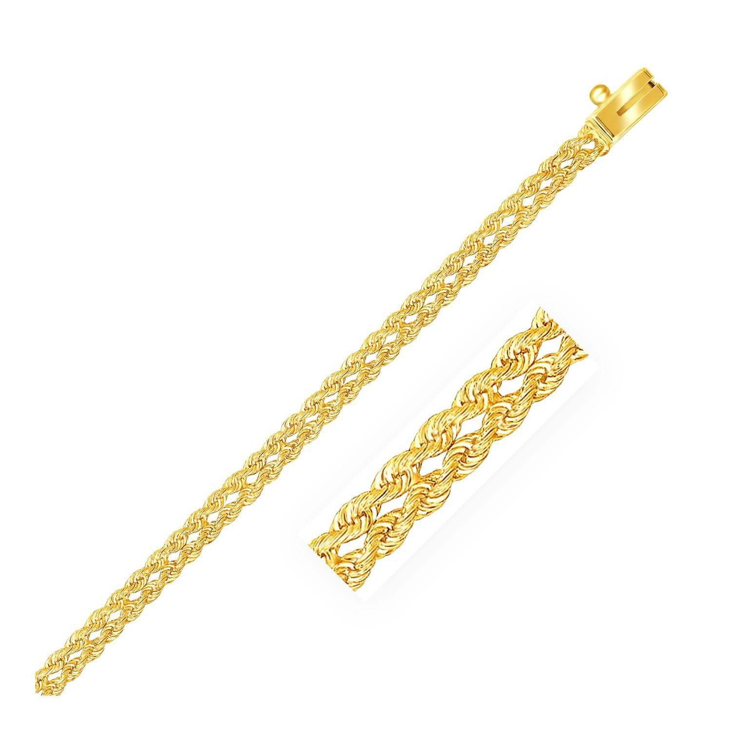 mm k yellow gold two row rope bracelet products pinterest