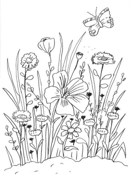 Blumen Blumenwiese Zum Ausmalen Ausmalen Blumen Blumenwiese Stickerei Blumen Ausmalbilder Blumen Wiese Malvorlagen Blumen