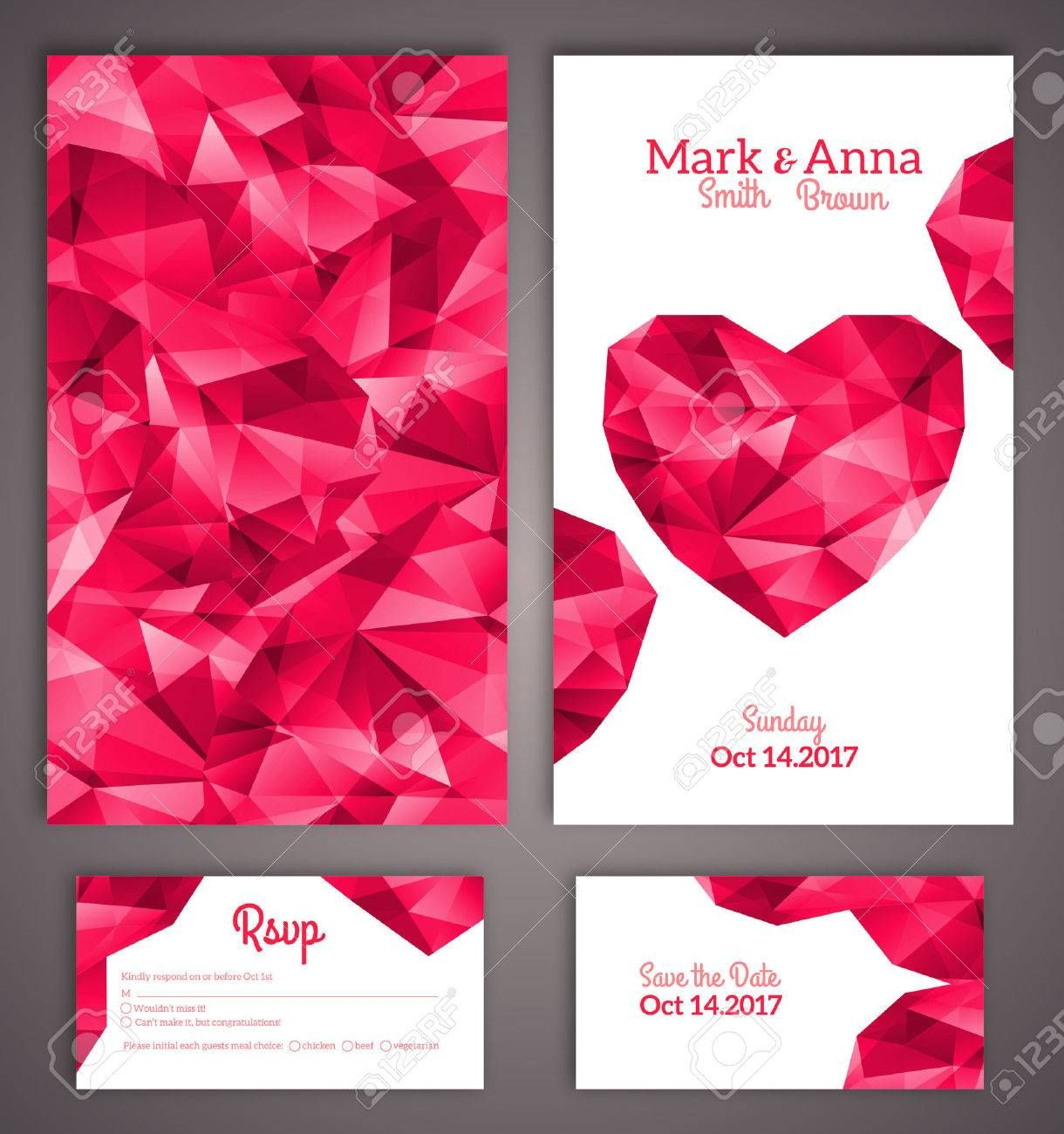 Wedding Invitation Cards Template With Abstract Polygonal Heart Vector Illustration Ill Wedding Cards Wedding Invitation Card Template Wedding Card Templates