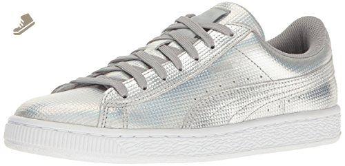 dcdadbe08e5e9 PUMA Women's Basket Holographic WN'S Fashion Sneaker, Puma Silver ...