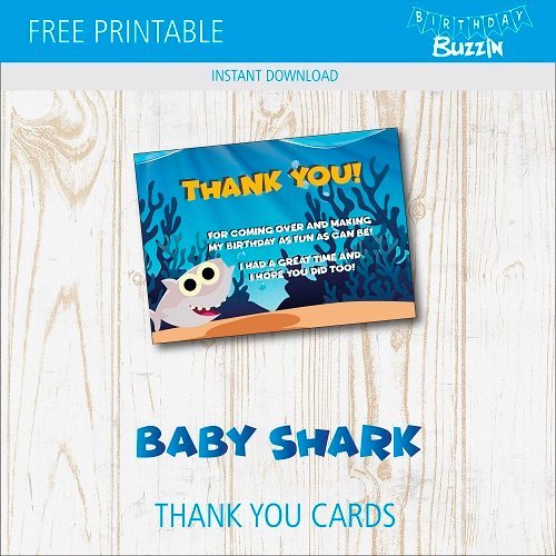 Free Printable Baby Shark Thank You Cards Birthday Buzzin Thank You Cards Birthday Template Cards