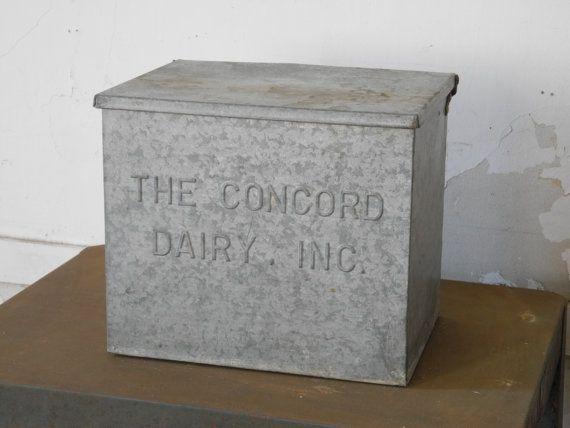 1950s Galvanized Metal Milk Delivery Box Porch Milk Bottle Cooler Milk Delivery Milk Box Milk The Cow