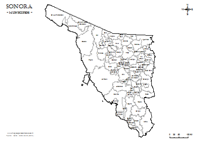 Mapa De Municipios De Sonora Em Blanco Para Colorear