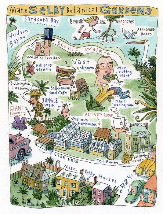 Map Sarasota Florida.Regan Dunnick Illustrated Map Of Marie Selby Botanical Gardens