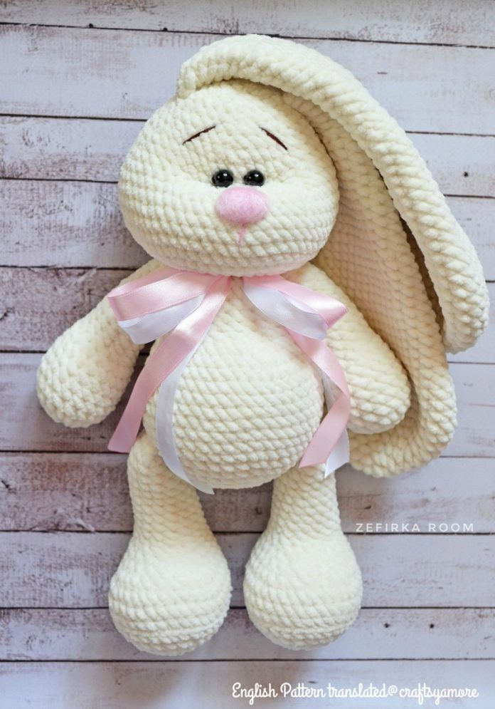 Crochet Big Flappy Ear Bunny Amigurumi Free Pattern #crochetamigurumifreepatterns