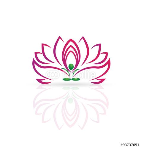 Vector: Logo Of Lotus Flower And Yoga Man Vector Design Part 96