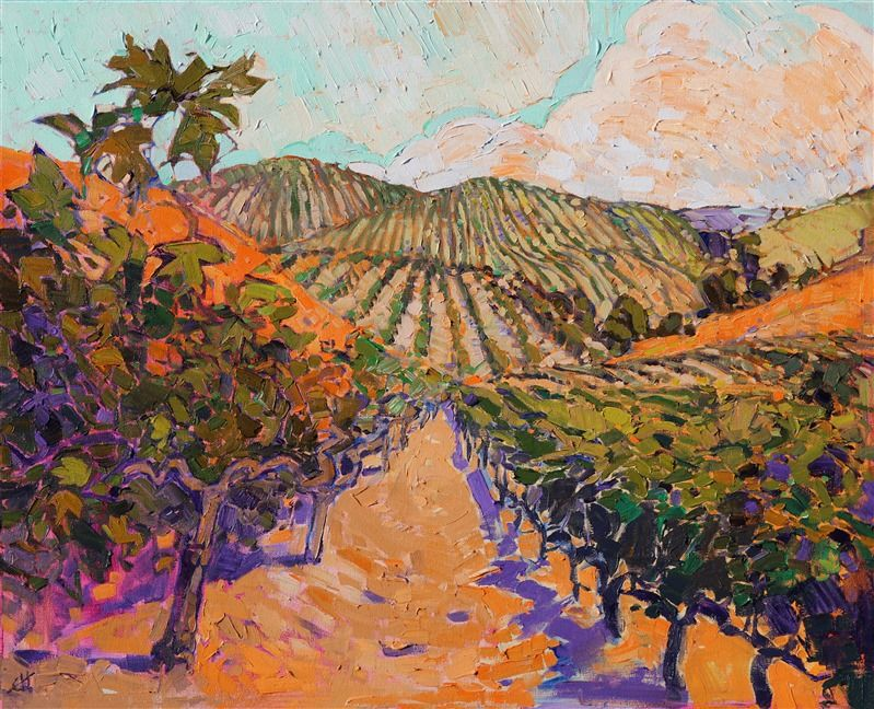 Pinot Noir Oldest Vines In California Paso Robles Oil Painting By Landscape Painter Landscape Paintings Contemporary Landscape Painting Impressionism Painting