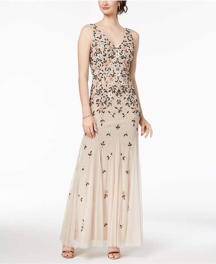 3bdeb7d067 Adrianna Papell V-Neck Floral Beaded Gown