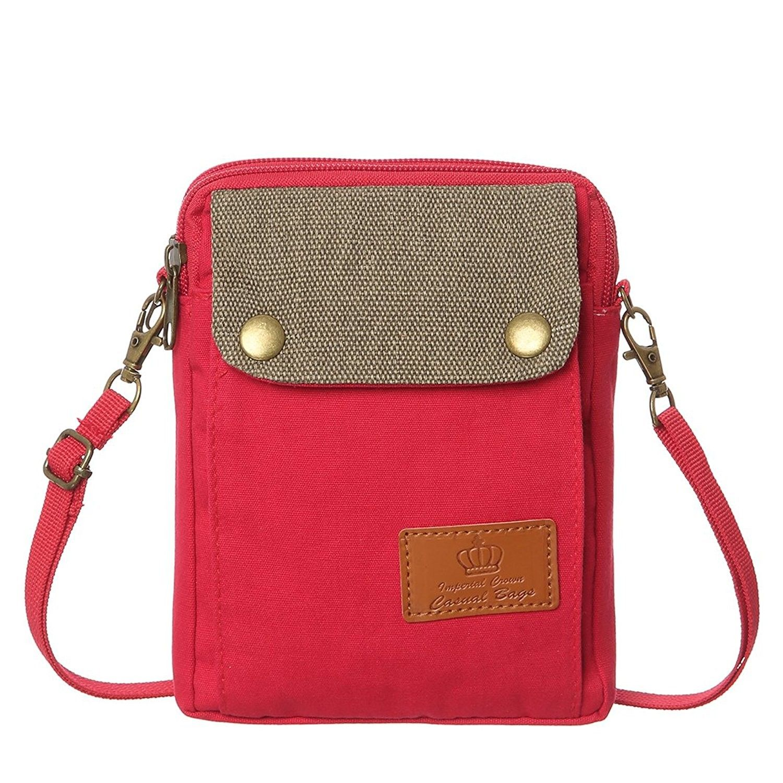 Cell Phone Purse Wallet Canvas Big Pocket Women Small Crossbody Purse Bags  - Red - CZ189XMW0K9 050a1dbebf