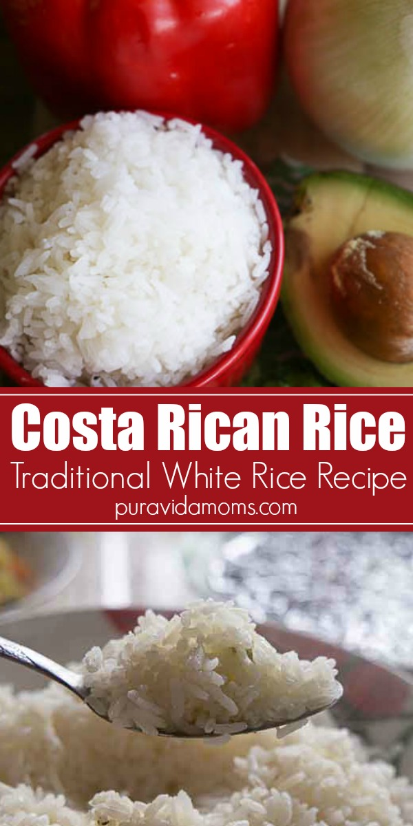 Costa Rican White Rice Recipe #whitericerecipes This Costa Rican white rice recipe the base for almost every Costa Rican food on the planet. Rice side dish, rice dish, gallo pinto, Central American food, Latin American food #whitericerecipes