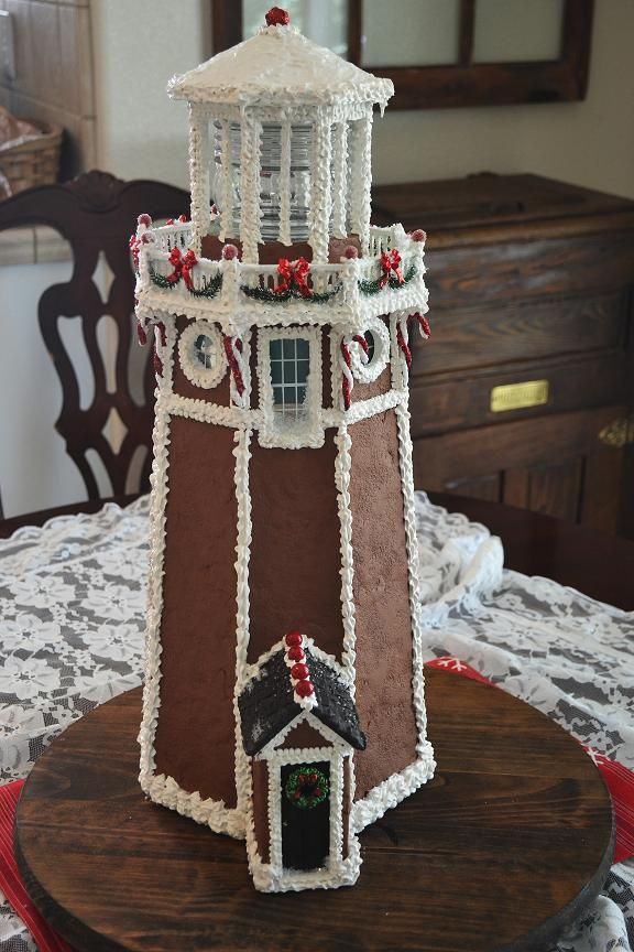lighthouse gingerbread house template  gingerbread lighthouse … | gingerbread house | Pinte…