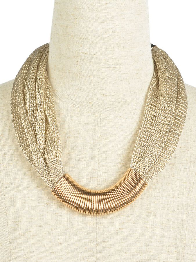 Gold Mesh Panel Collar Necklace