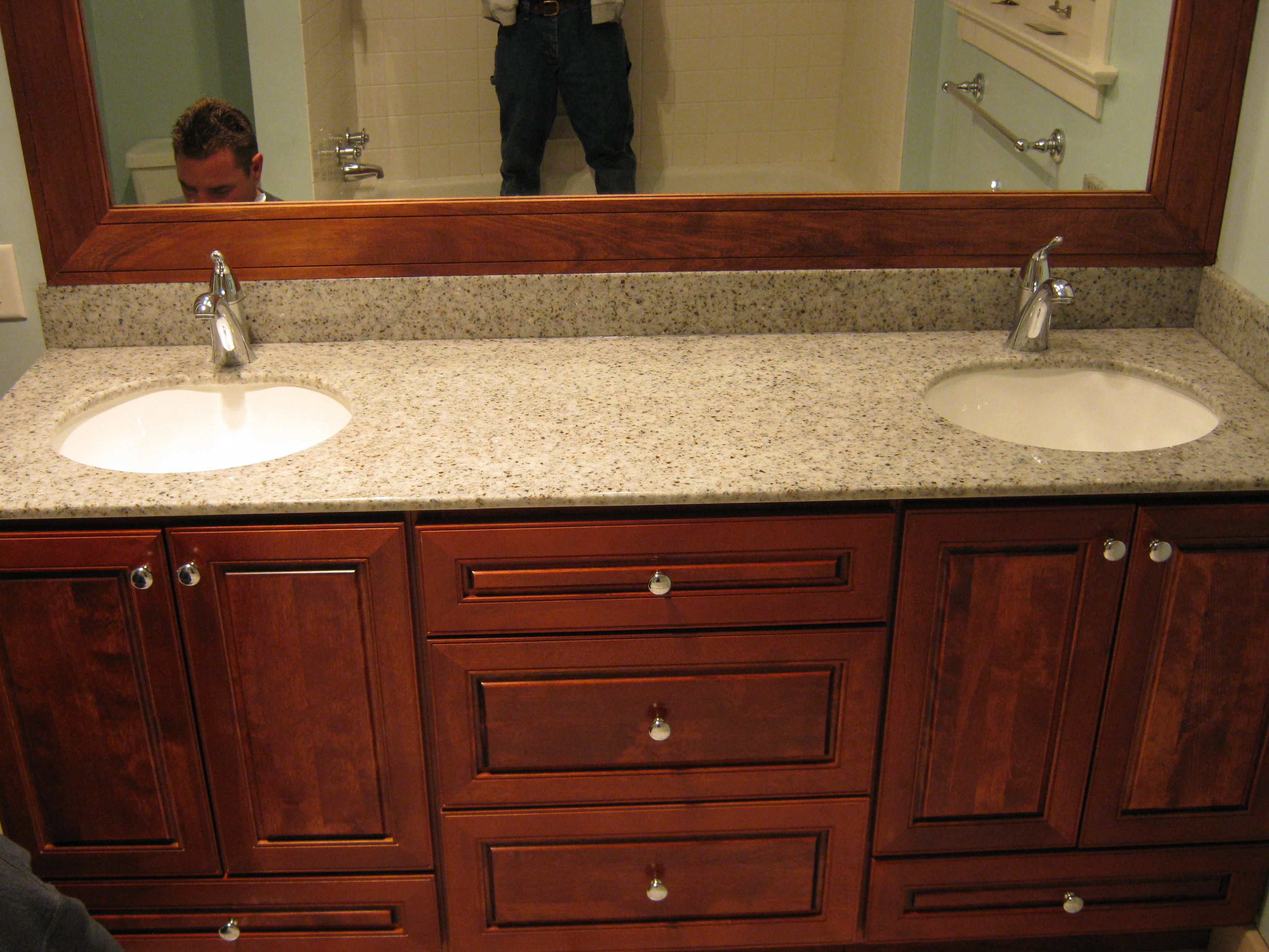 Bertch Hudson Cherry Cabinetry with Hylastone Recycled Glass