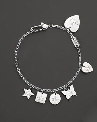7a7aa08e3 Gucci Sterling Silver Trademark Charm BraceletLeather Name Bracelets