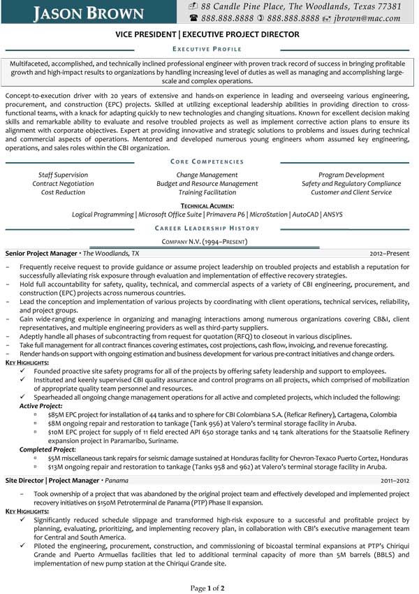 Project Director Resume (Sample) Resume Samples Pinterest - project resume sample
