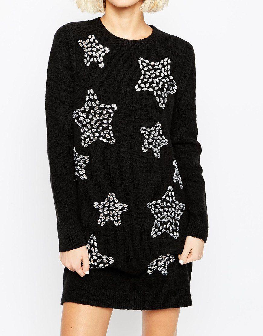 Image 3 of ASOS Christmas Jumper Dress with Embellished