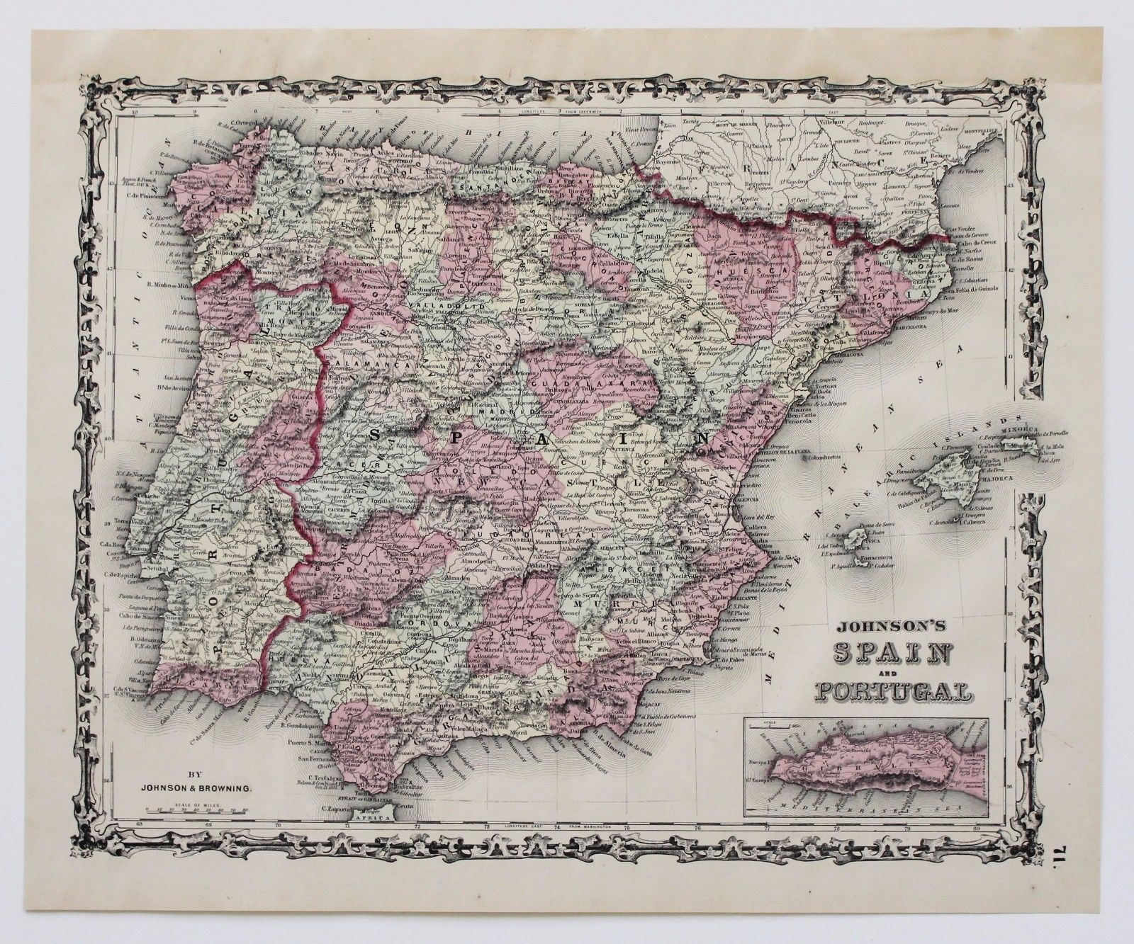 antique 1861 Spain and Portugal Map Strait
