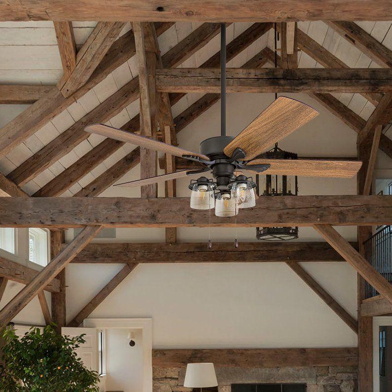 """52"""" Osteen 5 Blade LED Ceiling Fan Farmhouse ceiling fan"""