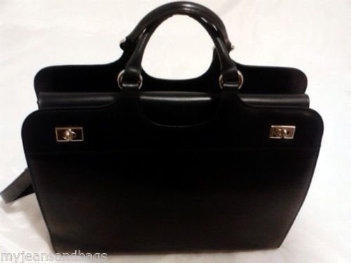 Franklin Covey Executive Leather Briefcase Business Case Shoulder Bag In Black