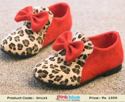 Adorable Designer Red Toddler Girl Shoes With Animal Print in India