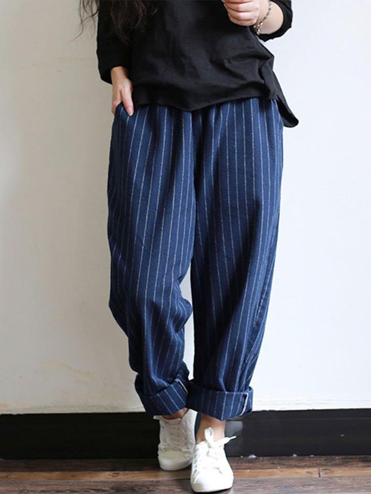 ZANZEA Women Corduroy Long Pants Casual Elastic Waist Loose Baggy Trousers Plus