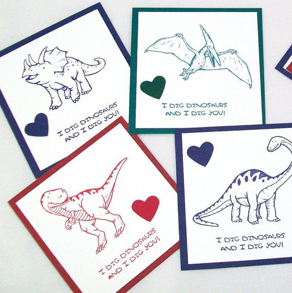 Dinosaur Valentines Pack Of 12 Purple Red U0026 By AcarrdianCards