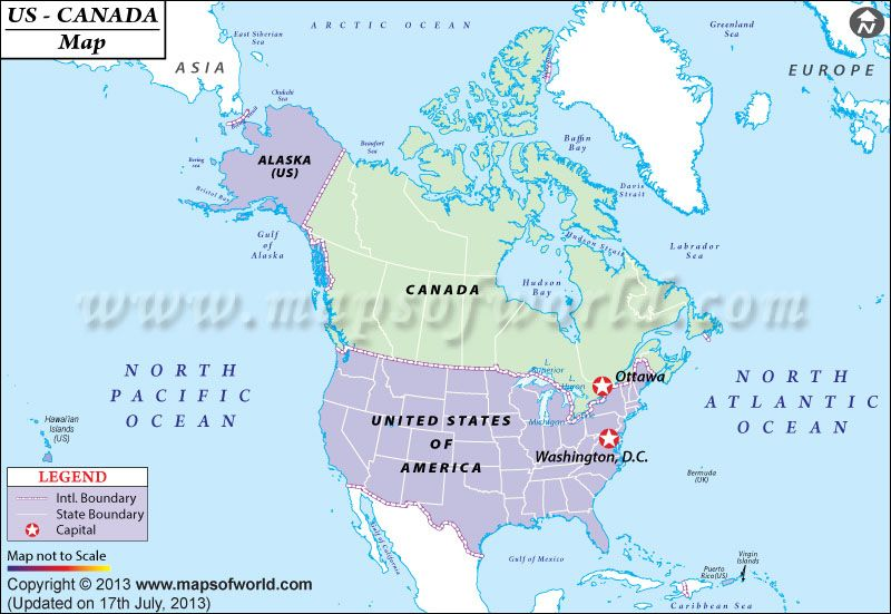 Canada And Us Map With Atlantic Ocean Download the map of US and Canada with major cities that exhibit