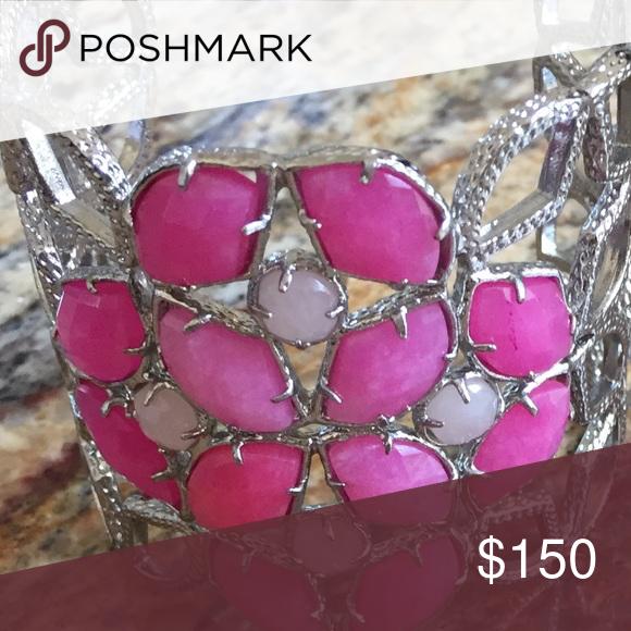 Vintage hard to find Kendra Scott cuff  in Silver Pink and silver cuff in Pink Ombré Kendra Scott Jewelry Bracelets