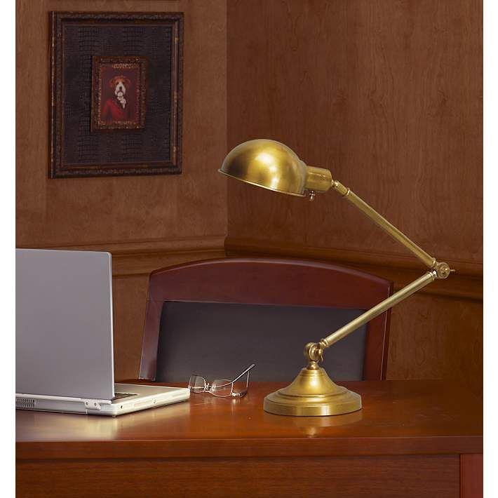 Antique Brass Pharmacy Desk Lamp, Robert Abbey Kinetic Antique Brass Pharmacy Desk Lamp