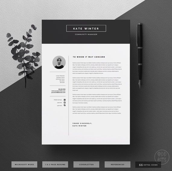 Minimalist Resume Template & Cover Letter + Icon Set for Microsoft Word | 4 Page Pack | Professional CV | Instant Download | The