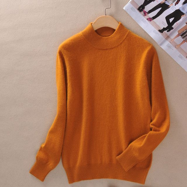 f5ad8801ba Women s Cashmere Elastic Autumn Winter Half Turtleneck Sweaters and  Pullovers Wool Sweater Slim Tight Bottoming Knitted
