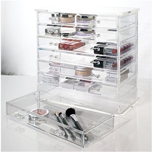 Acrylic Makeup Organizer Clear Box Cosmetic With Removable Drawers