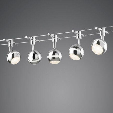 Elegant Seilsystem George LED Moderne und elegante Seil Beleuchtung mit LED Scheinwerfern und einem Meter langen Kabel Das Set besteht aus f nf modernen