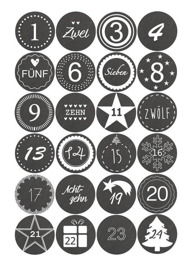 Adventskalender Zahlen Mathe adventskalender sticker zahlen 1-24- schieferoptik | •☆.•*advent
