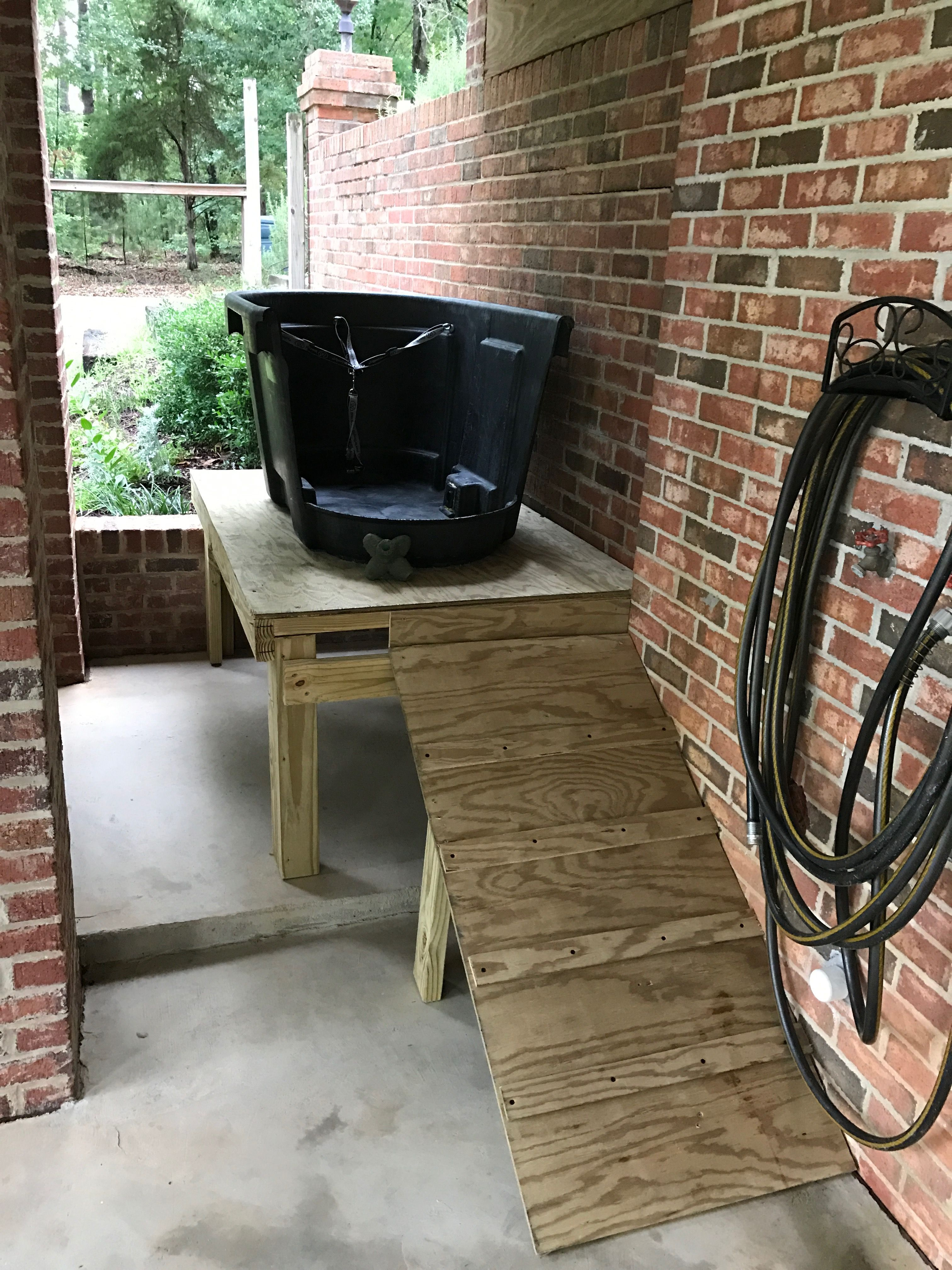 Diy large dog bath tub shower made from my old horse
