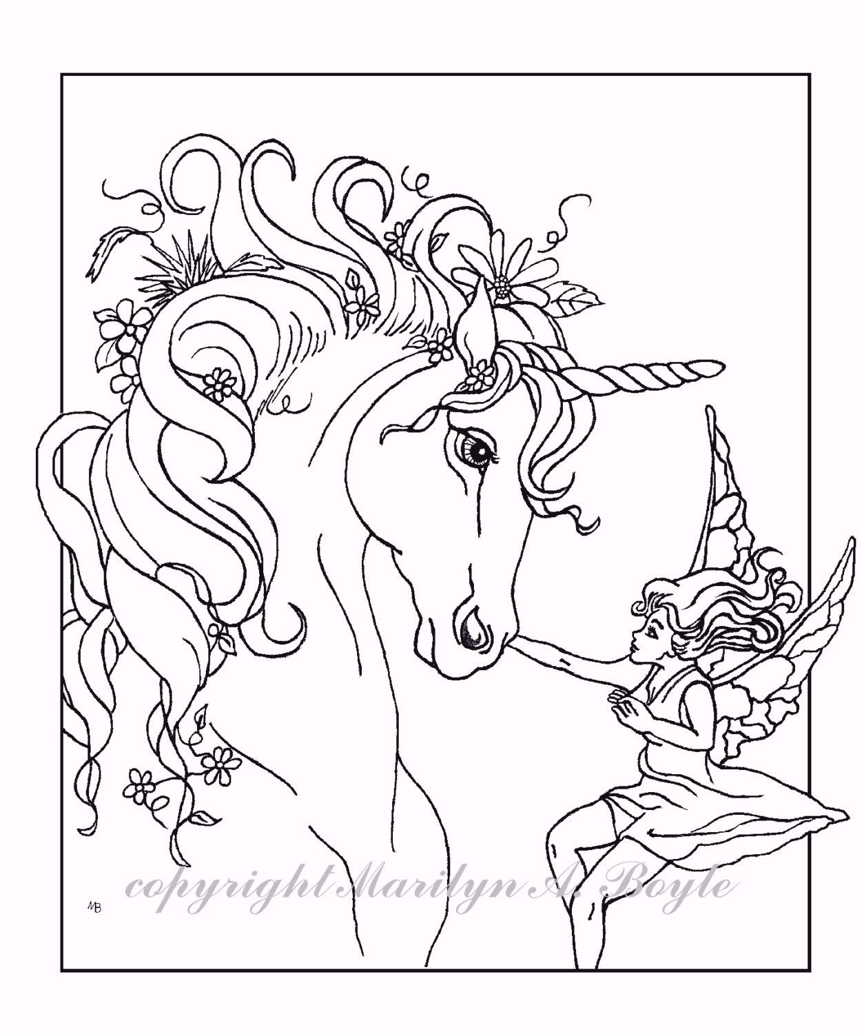 Adult Coloring Pages Set Of Five Digital Downloads Fantasy Unicorns Fairy Horse Unicorn