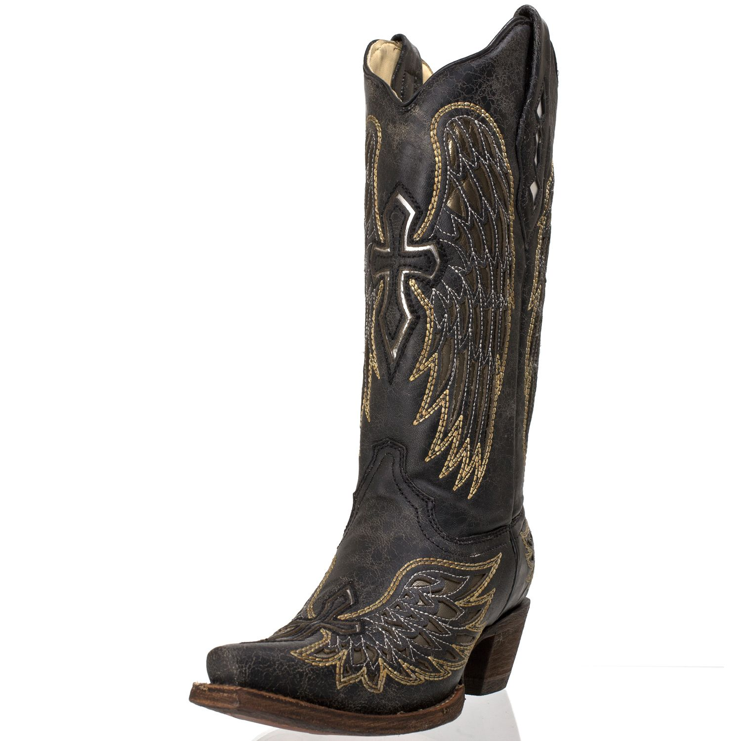 corral black gold silver wings and cross cowboy boots all