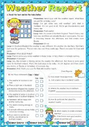 English worksheet: Weather Report - Reading Comprehension ...