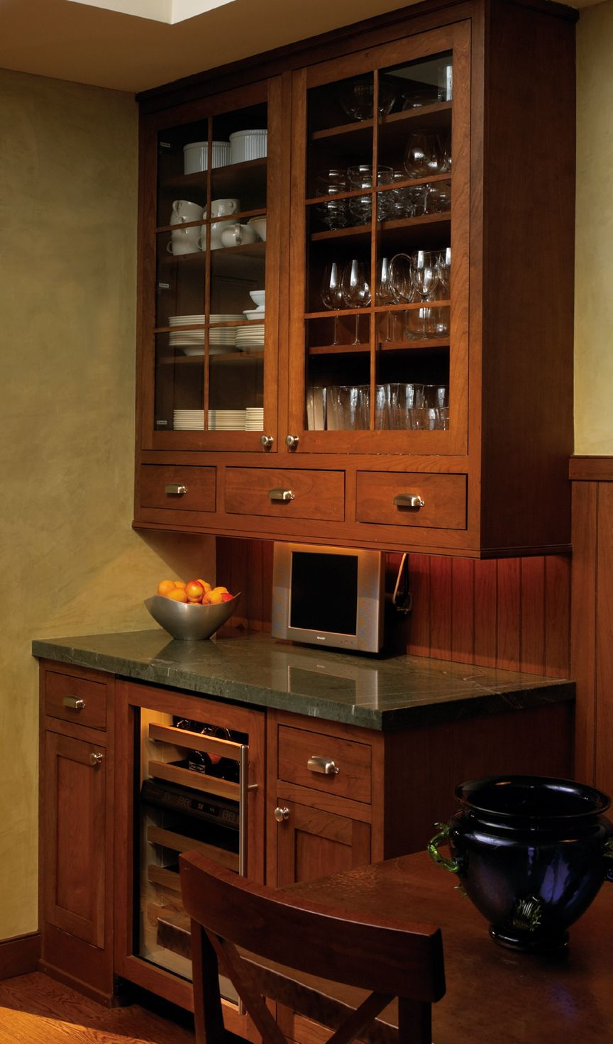 Corner Kitchen Hutch Furniture How To Incorporate Wine Chiller With Cabinets Custom Cabinetry