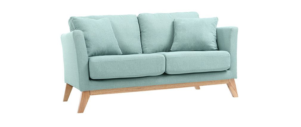 Sof escandinavo 2 plazas azul claro y patas madera clara oslo ideas para casa sof madera - Sofa escandinavo ...