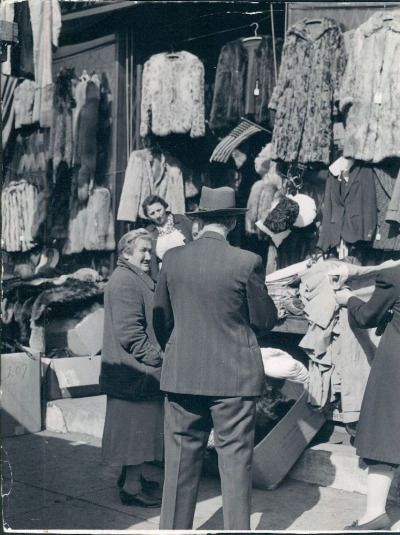 Coats and furs, Maxwell Street, 1942, Chicago