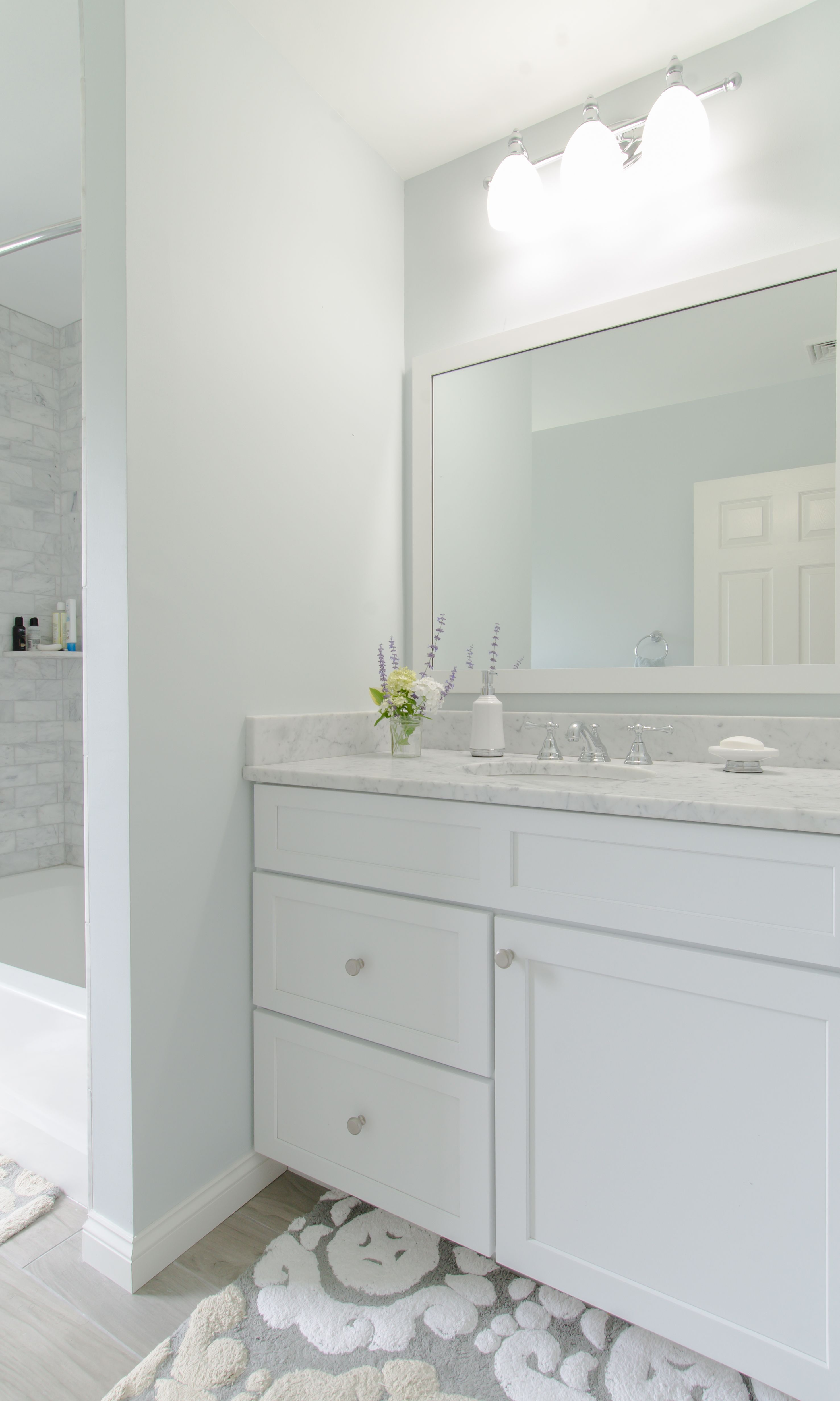 White Bathroom - White vanity cabinet, granite countertop, matching ...