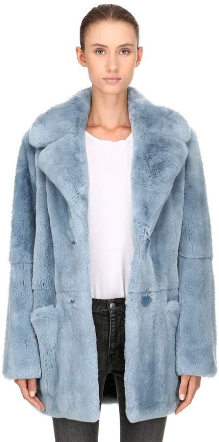 71b01c6073d Light Blue Color · Yves Salomon Rex Rabbit Fur Coat Rabbit Fur Coat