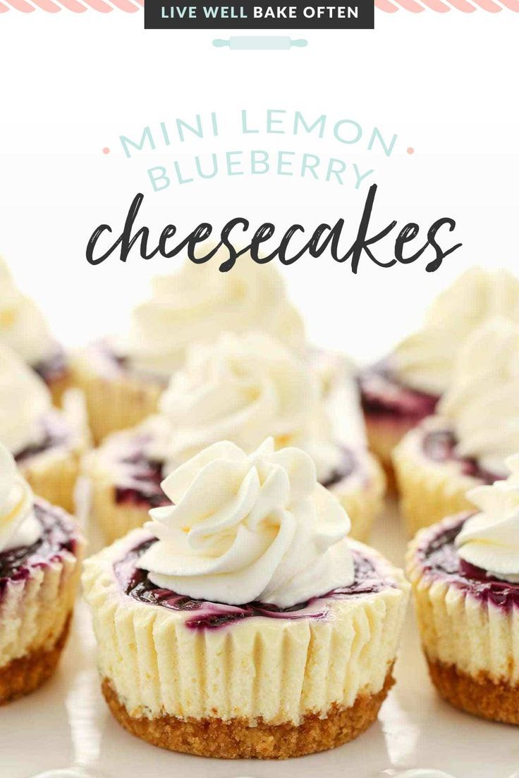 Mini Lemon Blueberry Cheesecakes