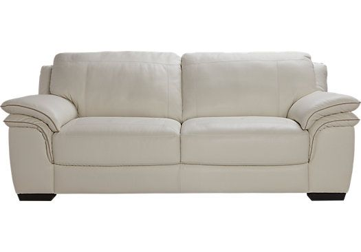 Cindy Crawford Home Perugia Off-White Leather Sofa | White ...