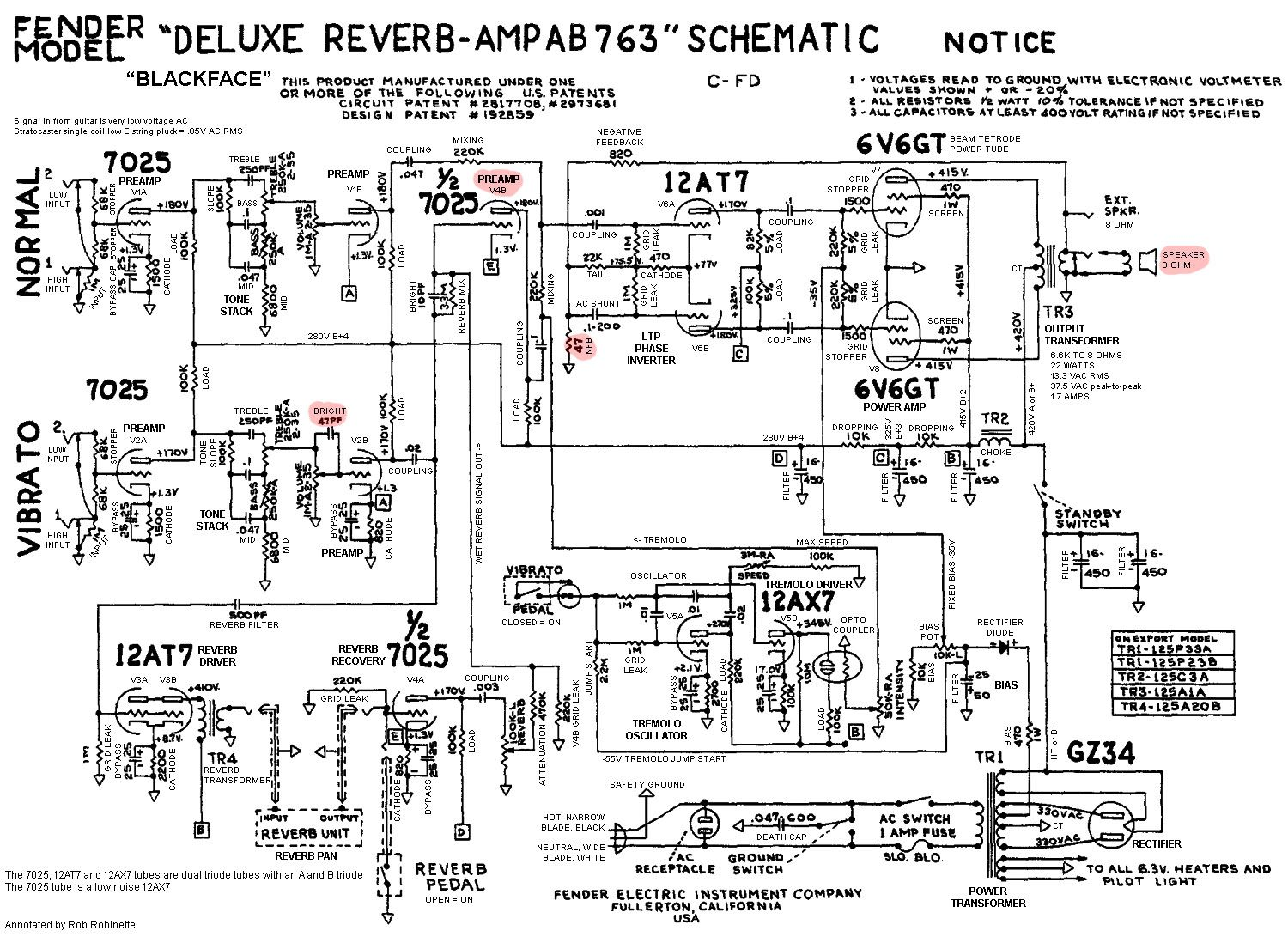 fender deluxe reverb ab763 tube guitar amplifier annotated schematic fender deluxe amp wiring diagram [ 1500 x 1091 Pixel ]