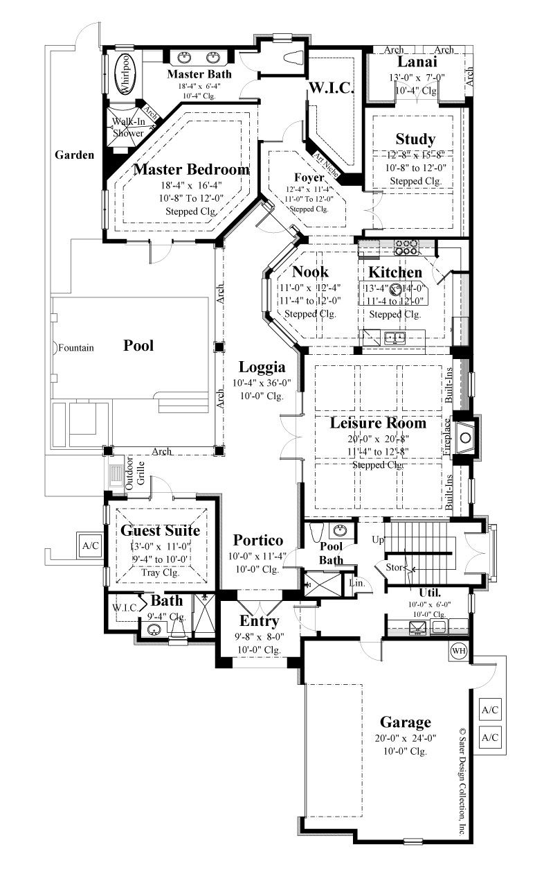 Avignon First Level Floor Plan 6769 European Style French Country House Plans Courtyard House Plans House Plans