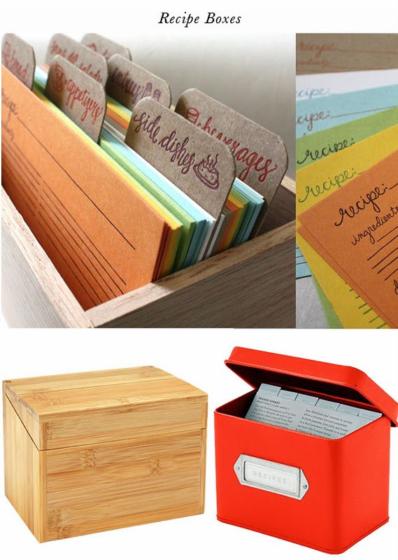 Qué buena caja para organizar las recetas! What a good idea for ...