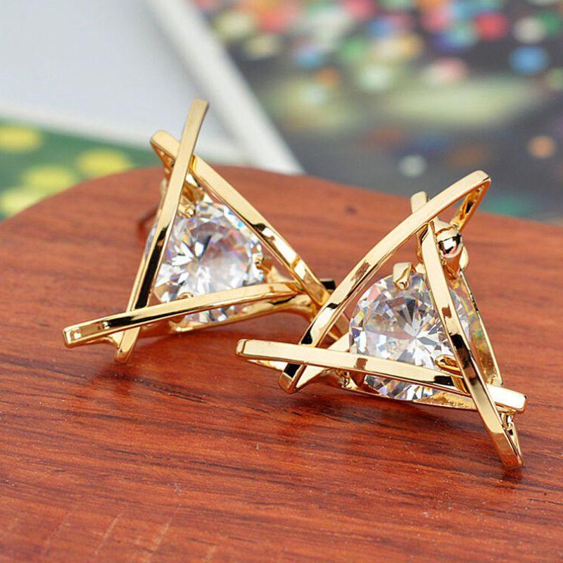 New Fashion Women Lady Triangle Crystal Rhinestone Ear Stud Silver ...