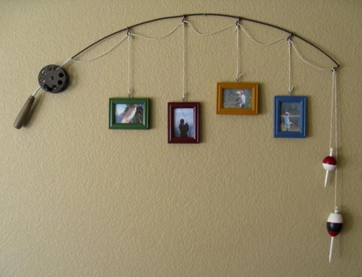 Old fishing rod as a picture display -how cute it would be with pictures of fishing days with your grand pop, father.
